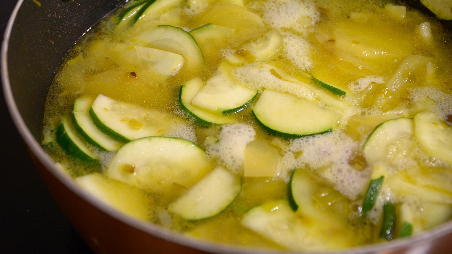 Puré de calabacín, puerro y patata